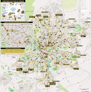 Map of Madrid Búhos night bus network