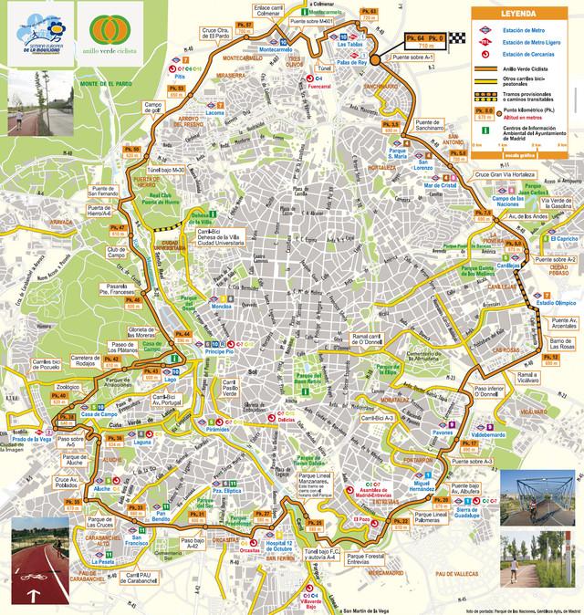 Subway Map Bike.Map Of Madrid Bike Paths Bike Routes Bike Stations