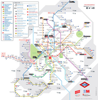 Map of Madrid metro, subway, tube & underground network