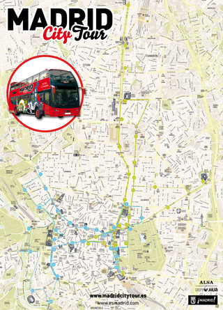 Map of Madrid hop on hop off bus tour with Madrid City Tour